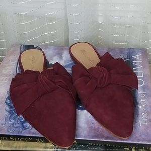 Madewell Remi Bow Mule in Red Suede Sz7.5